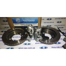Комплект вентильованих гальмівних дисків для Нива 2121-2123 з супортами плавного гальмування РОСТЕХНО